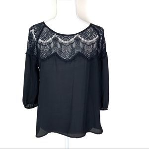 Cupcakes & Cashmere Black Lace 3/4 Sleeve Small